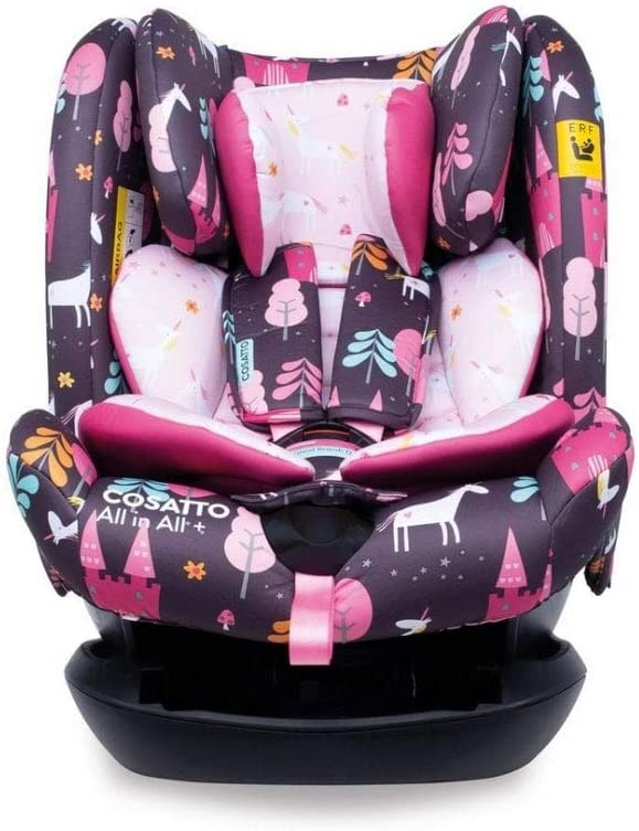 Cosatto All in All + Baby to Child Car Seat | Group 0+123, 0-36 kg, 0-12 years, ISOFIX, Extended Rear Facing, Anti-Escape, Reclines (Unicorn Land)