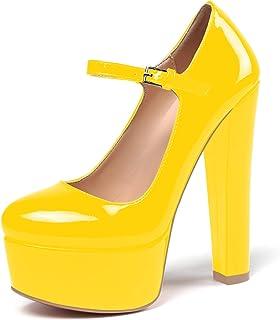 elashe - Femmes - Escarpins - Semelle compensée 5 cm - Talon Aiguille 15CM - Bout Rond fermé - Plateformes Talons Chaussures