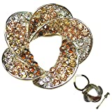 Floral Crystal Diamante Petal Brooch Pin - Gold