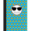 Composition Book: Cool Bright Blue Emoji Notebook with 150 pages or 75 sheets