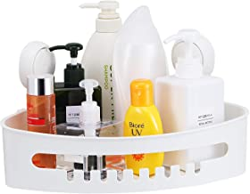LUXEAR Corner Shower Basket Bathroom Shower Caddy for Shampoo, Conditioner, Soap, Razor Bathroom Storage Basket Suction Cup Shower Rack Waterproof. (White)