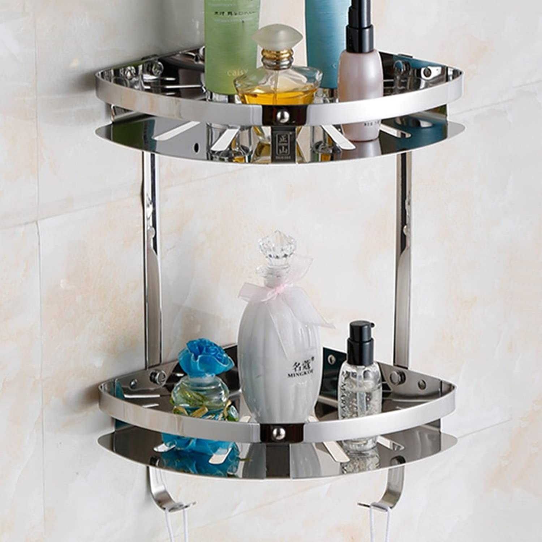 Shelf Stainless Steel Bathroom Pendant Tripod Corner Rack Bathroom Shelf Wall Toilet Corner Basket Storage Single Double Three (Size   Double Layer)