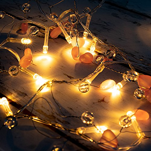 West Ivory 5 feet 20 LED String Fairy Light w/Beads & Hearts Battery Powered Decorative Indoor Outdoor, Warm White