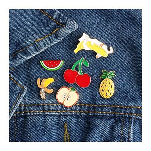 HMYDZ 3~6 PC/gesetzte Karikatur-Katzen Kaninchen Schaf Pflanze Rose Kaktusfrucht Hamburgere Pizza Brosche Emaille Pin-Metallabzeichen-Broschen for Frauen (Color : Style 4)