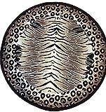 Americana Tiger & Leopard Zebra Round Animal Skin Area Rug Print Design 130 (5 Feet 3 Inch X 5 Feet 3 Inch)