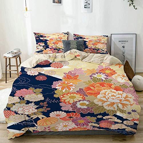 Ruchen Funda nórdica Beige, Kimono Beautifu Japón Fondo japonés, Juego de Cama de Microfibra Impresa de Calidad de 3 Piezas, Diseño Moderno con suavidad Cómodo
