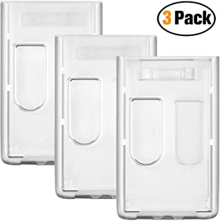 3 Pack- Heavy Duty ID Badge Holder by Vetoo, Hard Plastic Clear Holder with Thumb Slots - Holds 2 Card