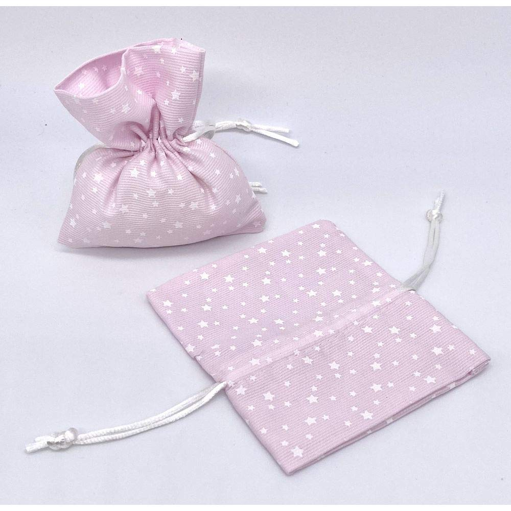 Publilancio srl - 10 Bolsas para peladillas de algodón Rosa con Estrella, 11,5 x 10 cm: Amazon.es: Hogar