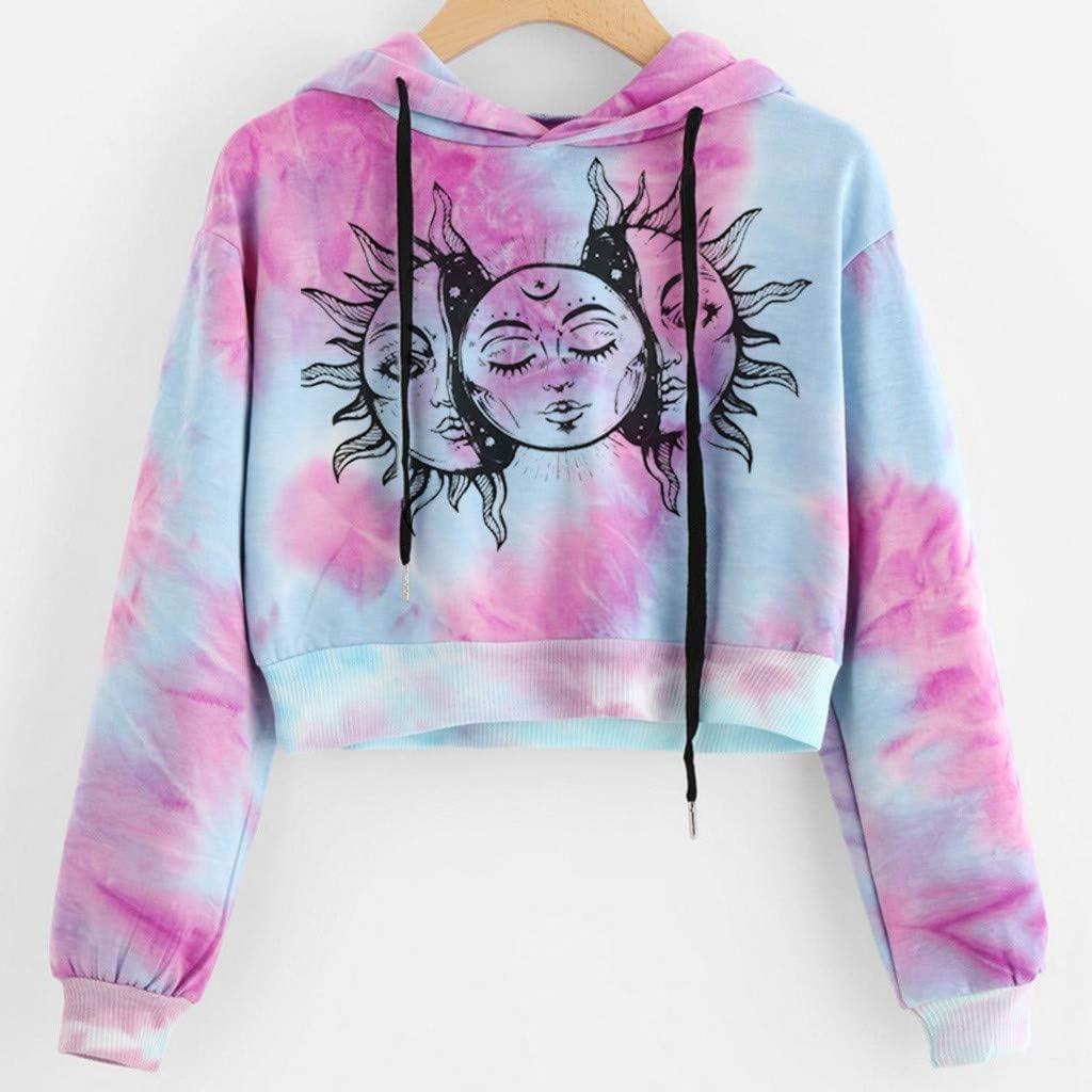 Womens Off Shoulder Tie Dye Print Long Sleeve Pullovers Sweatshirt T-shirts Tops