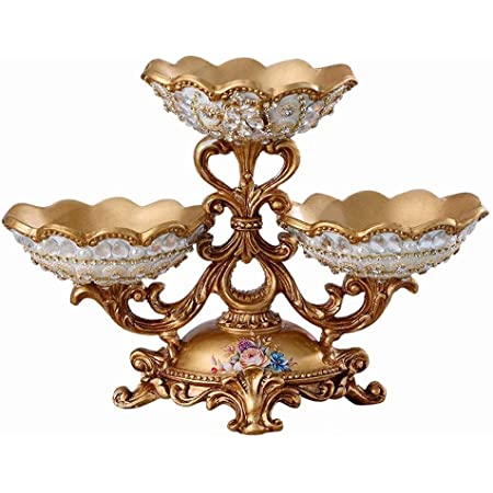 Coverdeal Pearl Beaded Decorative Fruit Bowl Centerpiece Bowl Functional Table Decorations Centerpieces For Dining Living Room Tea Coffee Table Best Wedding Birthday Gift Kitchen Dining
