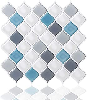Peel and Stick Wall Tile for Kitchen Backsplash-Slant Blue&White Arabesque Tile Backsplash-Kitchen Backsplash Tiles Peel and Stick Wall Stickers,6 Sheets