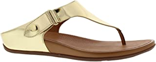 FitFlop Womens Gladdie Toe Post Metallic Sandal Shoes, Pale Gold, US 8