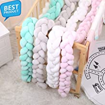100/200cm Newborn Baby Bed Bumper Pure Color Weaving Knot for Infant Room Decor Crib Protector Bedding Accessories for Bed Decor (Pink, 200cm)