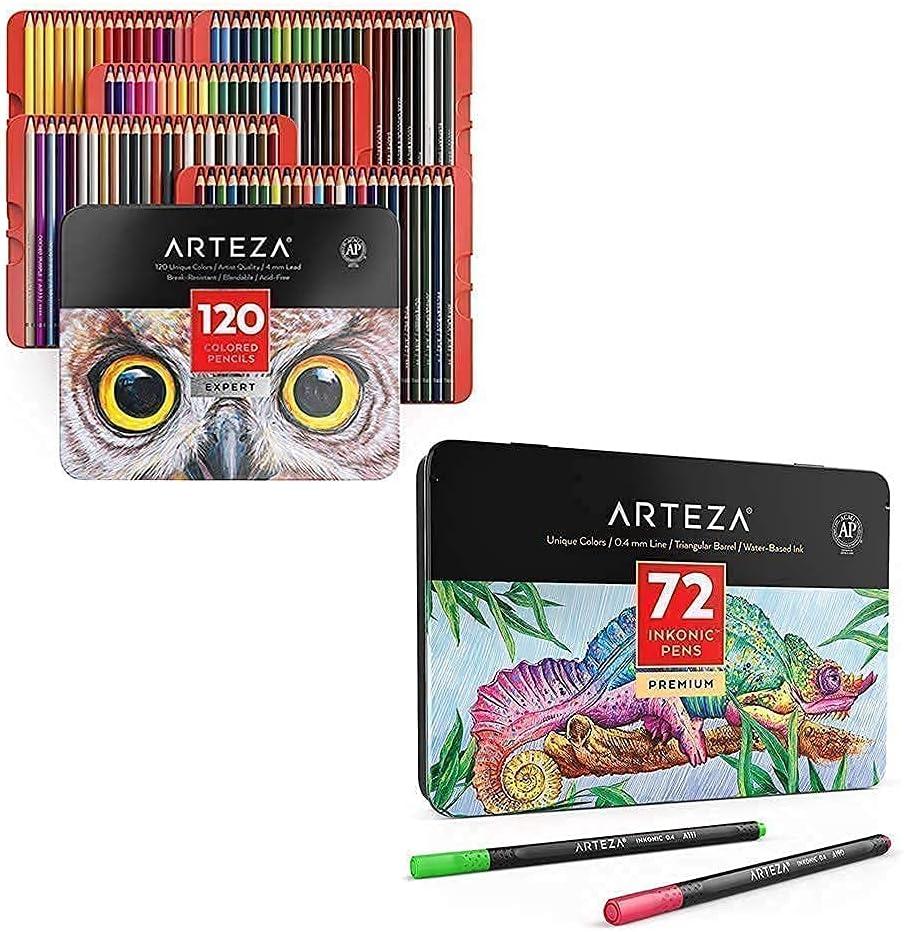 Arteza Popular brand in the world Colored Pencils and Fineliner Bundle Su San Antonio Mall Drawing Pens Art