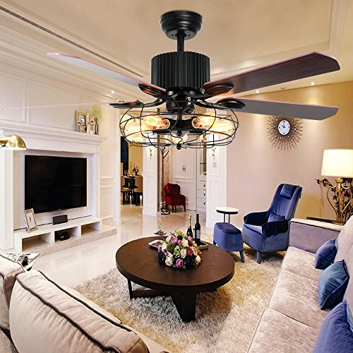 LuxureFan Industrial Retro Ceiling Fan Light Elegant for Restaurant/Living Room with Create Iron Cage Cover and 5 Reversible Wood Leaves Remote Control of 52Inch