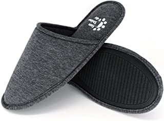 Men's Memory Foam Cotton Washable Slippers with Matching Travel Bag for Home Hotel Spa Bedroom