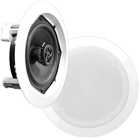 """6.5"""" Ceiling Wall Mount Speakers - Pair of 2-Way Midbass Woofer Speaker 1/2'' Polymer Dome Tweeter Flush Design w/ 70Hz-20kHz Frequency Response & 200 Watts Peak Easy Installation - Pyle PDIC61RD White"""