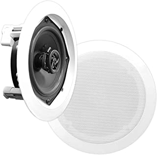 "6.5"" Ceiling Wall Mount Speakers - Pair of 2-Way Midbass Woofer Speaker 1/2'' Polymer Dome Tweeter Flush Design w/ 70Hz-20..."