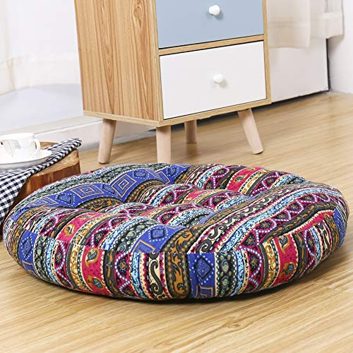 YALLEYA Round Solid Floor Pillow Cotton Linen Couch Throw Pillow Meditation Yoga Boho Cushion Home Decorative Seat Cushion Tatami Futon for Living Room Balcony Bedroom Party, 22x22 Inch, Ethnic Style