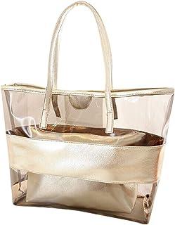 VECDY Handtaschen Damen Große Kapazitäts Transparente Strand Gelee Umhängetasche Schultertasche Henkeltasche