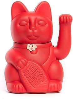 Gato de la Suerte chino. Lucky Cat. Maneki Neko. COLOR ROJO FRESA 12x9x18cm