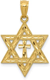 14k Yellow Gold Jewish Jewelry Star Of David Cross Religious Pendant Charm Necklace Judaica Fine Jewelry Gifts For Women For Her