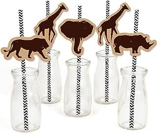 Wild Safari - Paper Straw Decor - African Jungle Adventure Birthday Party or Baby Shower Striped Decorative Straws - Set of 24