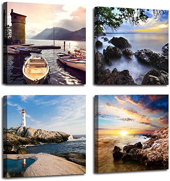 Canvas Wall Art Seascape Lighthouse Ocean Modern Paintings Sail Boat Landscape 12 X12 X4 Panels Pictures Framed Artwork For Living Room Bedroom Bathroom Kitchen Wall Decor