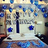 iPartycool HB2S 42Pcs Party Birthday Balloons Kit, 3D Premium Reusable Aluminum Foil Letter Banner and Ecofriendly Big Star and Latex Balloons Set for Birthday Party Decorations and Supplies