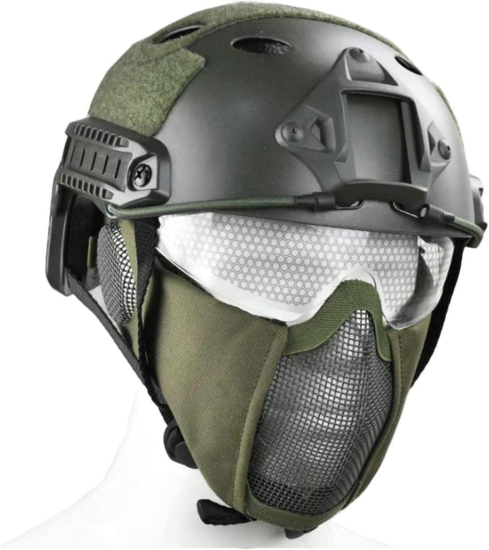 原文 Casco rápido Multifuncional táctico Tipo PJ con protección para los oídos, máscara y Gafas de Malla de Media Cara con Doble cinturón Plegable