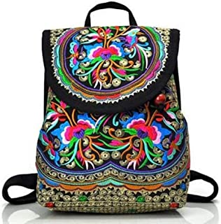 Jundonglilai Mochila de Viaje for Mujer Mochila de Bordado de Lona con Bolsillo Interior Ranura Hecha a Mano Mochila (Color : Clear, tamaño : M)