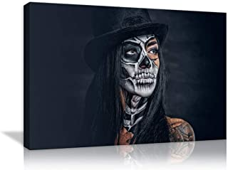 Candy Skull Makeup Girl Painting on Canvas Wall Art Retro Day of the Dead Painting Mystic Dia De Los Muertos Pictures Print For Home Decor for Living Room Bedroom Bathroom Office Framed Ready to Hang