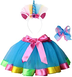 Girls 3 Pieces Layered Rainbow Tutu Skirt,Unicorn Headband & Hair Bow for Dress up Costume