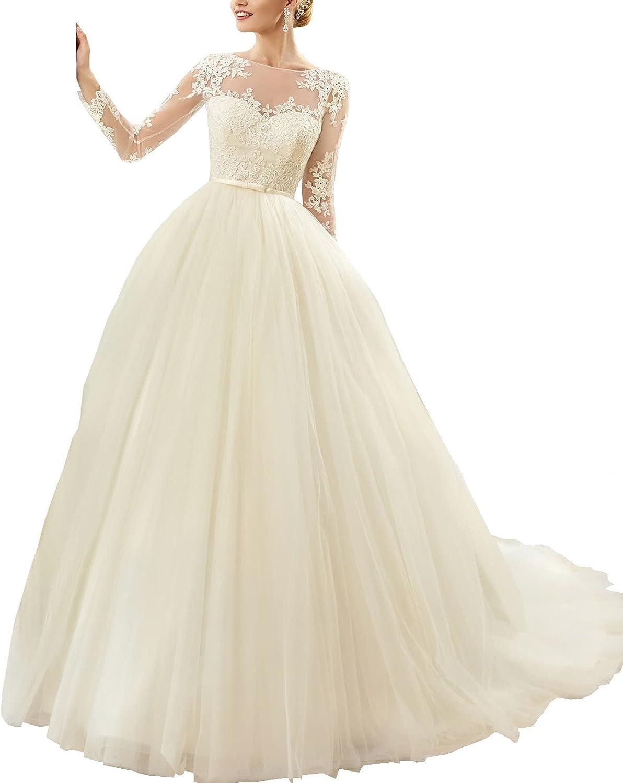 Changjie Women's Long Sleeve Bridal Dresses Lace Applique Aline Wedding Gown
