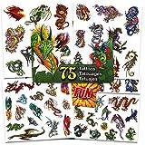 Dragon Temporary Tattoos Party Favor Set -- 75 Dragons Temporary Tattoos with Popart Stickers (Dragon Party Supplies)