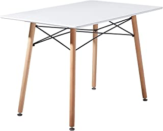 setsail Table de salle à manger scandinave en bois de hêtre Table de cuisine Table rectangulaire MDF Cadre en acier 110 x ...