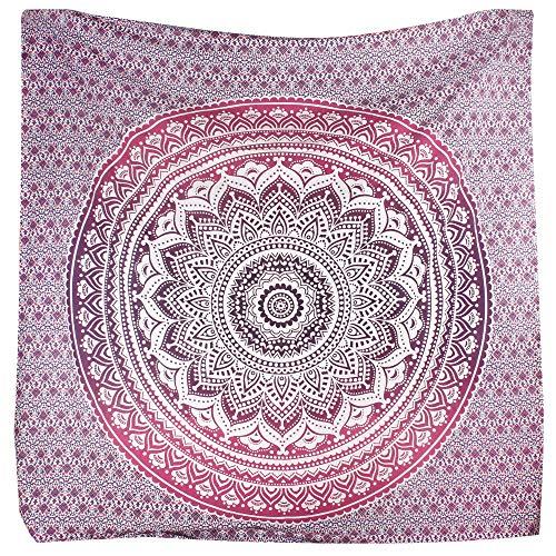 Bless International - Tapisserie hippie motif mandala ombre traditionnel indien en coton à mettre au mur ou à utiliser comme couvre-lit bohème, Tissu, violet/rose, Queen(84x90 Inches)(215x230 Cm)