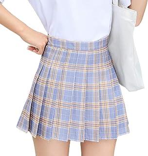 LAOZZI Falda a Cuadros, Faldas Plisadas de Moda, Falda a Cuadros de Cintura Alta