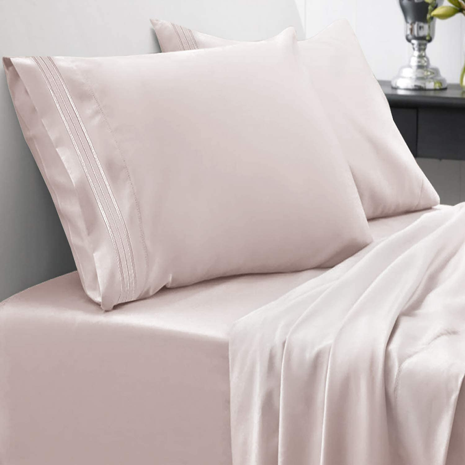 Sweet Home Collection 1800 Thread Count Soft Egyptian Quality Brushed Microfiber Luxury Bedding Set with Flat, Fitted Sheet, 2 Pillow Cases, Queen, Beige
