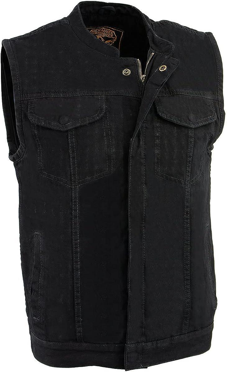 Milwaukee Leather MDM3000 Men's Black 'Quick Draw' Dual Closure Denim Club Vest