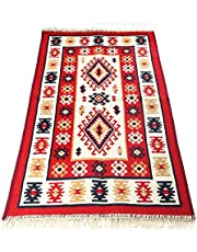 Traditional Bohemian Turkish Area Rug Kilim, Washable, Double Sided, Red-White (80X120 CM)