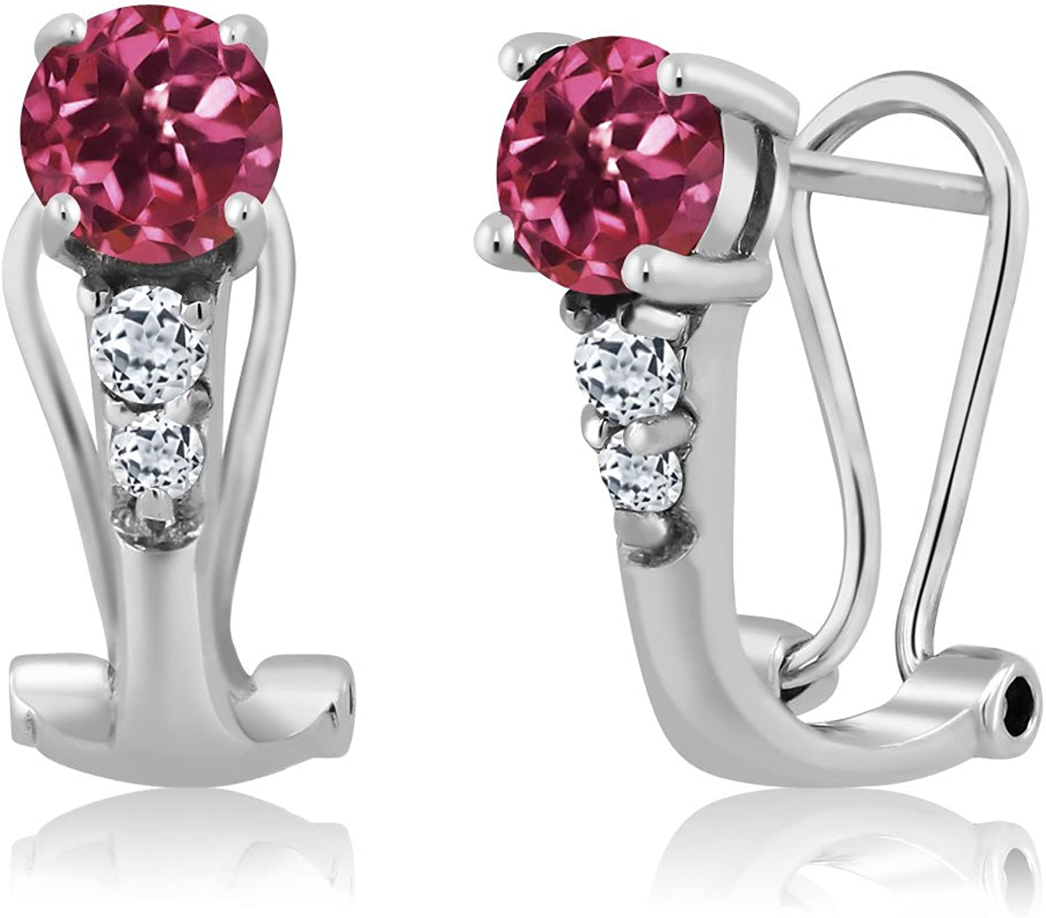 1.24 Ct Round Pink Tourmaline White Topaz 925 Sterling Silver Earrings