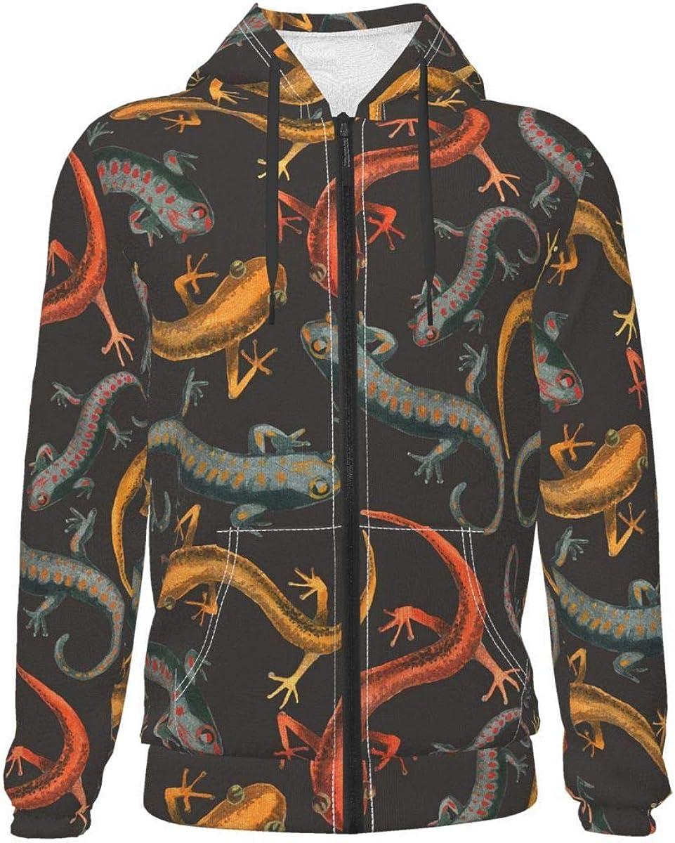 X-Peach Colorful Lizard Reptile Kids & Youth Full-Zip Fleece Hoodie Boys Athletic Hooded Sweatshirt Jacket Pockets