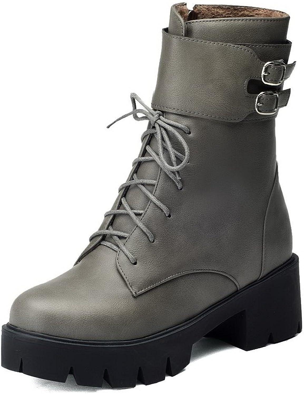 AllhqFashion Women's Soft Material Zipper Round Closed Toe Kitten Heels Mid Top Boots