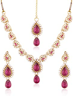 I Jewels Indian Bollywood Gold Plated Jewelry Necklace Set with Earrings & Maang Tikka for Women IJ299Q