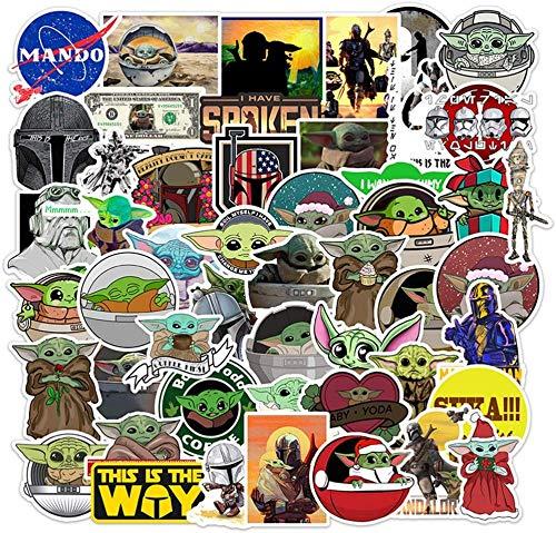 50 piezas Baby Yoda Sticker Mandalorian Star Wars Stickers para botellas de agua Laptop Stickers Skateboard Equipaje Baby Yoda Decal Vinyl Stickers Waterproof