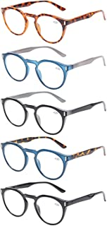 Reading Glasses 5 Pack Fashion Large Round Readers Quality Spring Hinge Glasses for Reading
