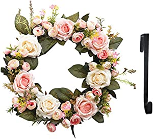 SunriseMall 13 Inch Handmade Wreath, Floral Artificial Simulation Flowers Garland, European Door Ornament, with 1pcs Wreath Hook, for Home Party Decor (13 Inch Pink)
