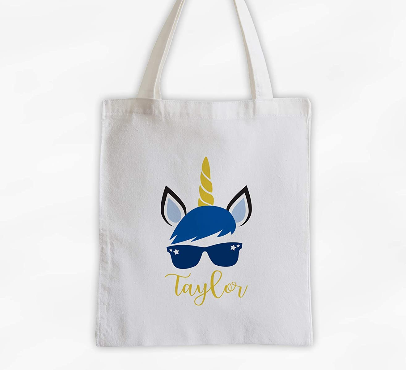 Boy Unicorn with Sunglasses Kids Tote Bag - Personalized Unicorn Face Cotton Overnight Bag for Girls or Boys (3048-U4)