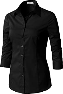Women's Tailored 3/4 Sleeve Slim Fit Basic Simple Button-Down Shirt